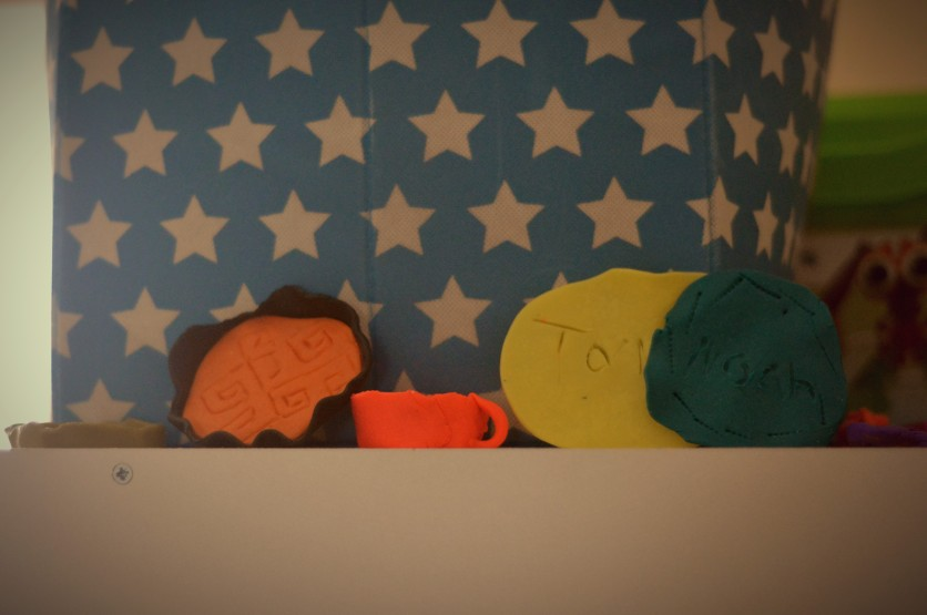 The boys decorative pieces are now displayed in their play room.